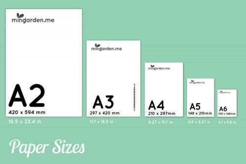 A Series Paper Sizes A2 A3 A4 A5 A6 inches mm