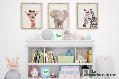 Baby African Animals Elephant Giraffe Zebra Watercolour Print