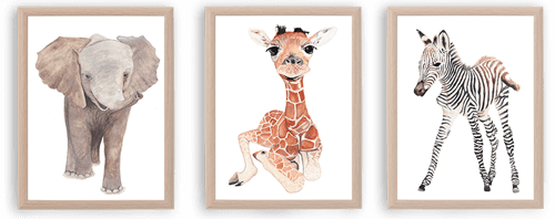 Baby African Animals Elephant Giraffe Zebra Watercolour Print