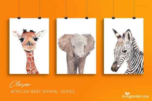 African Baby Animal Giraffe Elephant Zebra Watercolour Prints