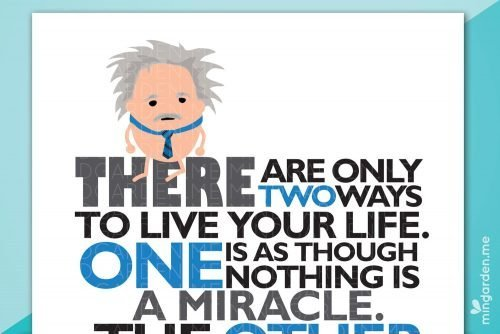 Albert Einstein Digital Printable Poster There are only two ways to live your life