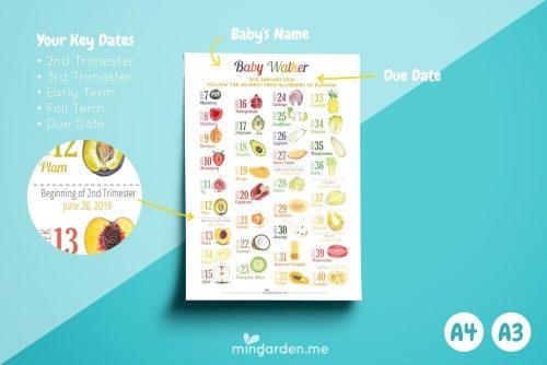 Personalised Custom Pregnancy Milestone Countdown and Milestones Print Details